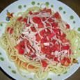 トマトとハムの冷製スパゲッティ